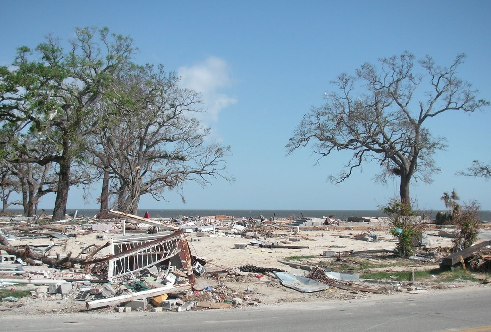 7. Photo shows debris layered along the beach of Gulfport, Mississippi.