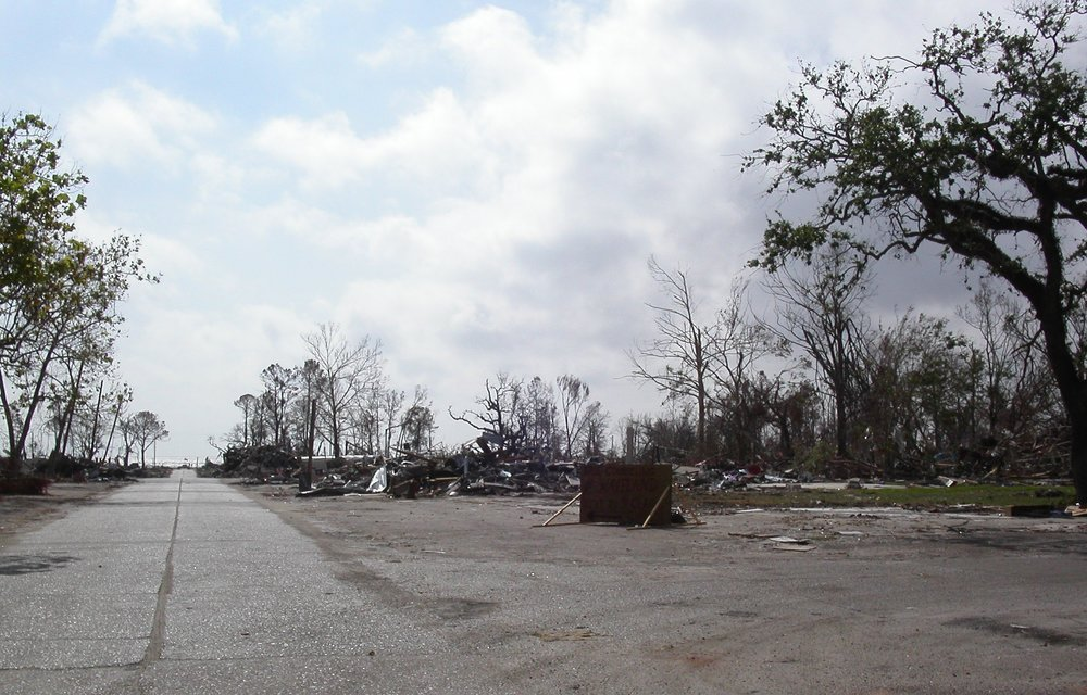 "14. Photo shows ""all that was left of Waveland, Mississippi"" four weeks after Katrina."