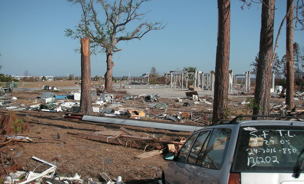16. Photo shows what was left of a coastal condo community near Diamondhead, Mississippi.