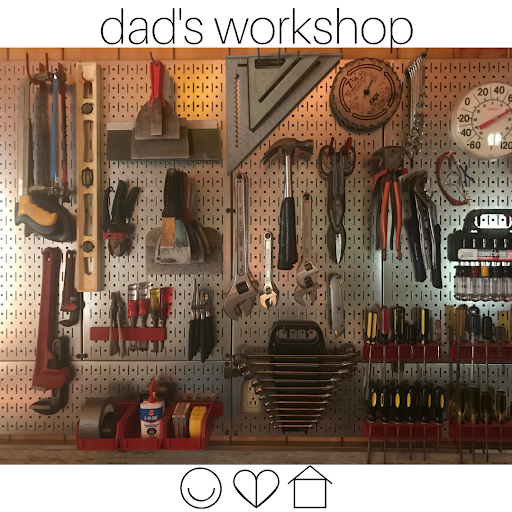 Metal pegboard   in Dad's shop