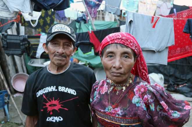 Victoria with her husband Raulio Harris in her overcrowded compound