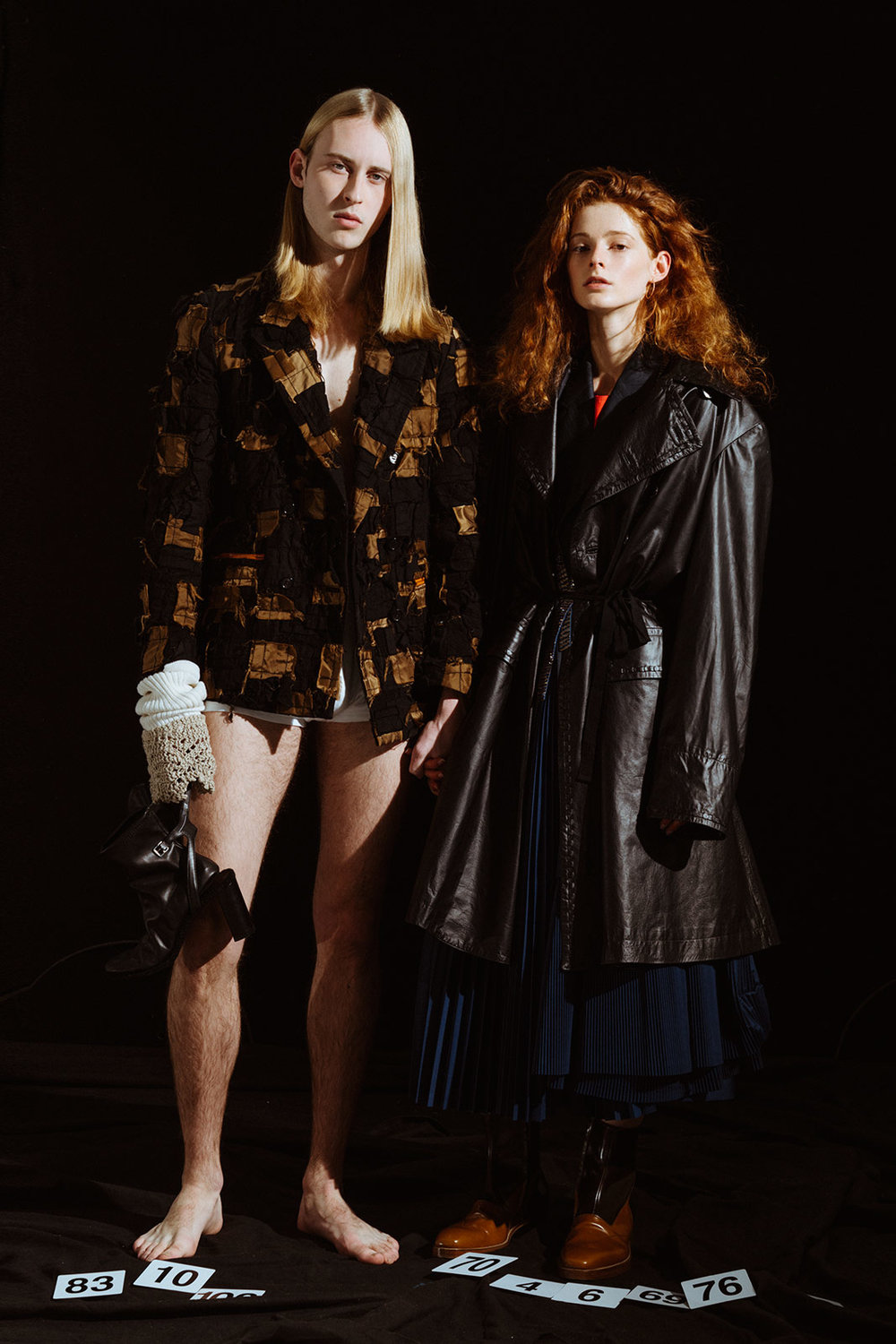 Loic wears jacket CHRISTIAN DADA, glove CONGREGATION, shoes MM6, underwear model's own. Clementine wears skirt and jacket TOGA ARCHIVES, dress MM6, coat ANN DEMEULEMEESTER, belt made by stylist, shoes WALTER VAN BEIRENDONCK.