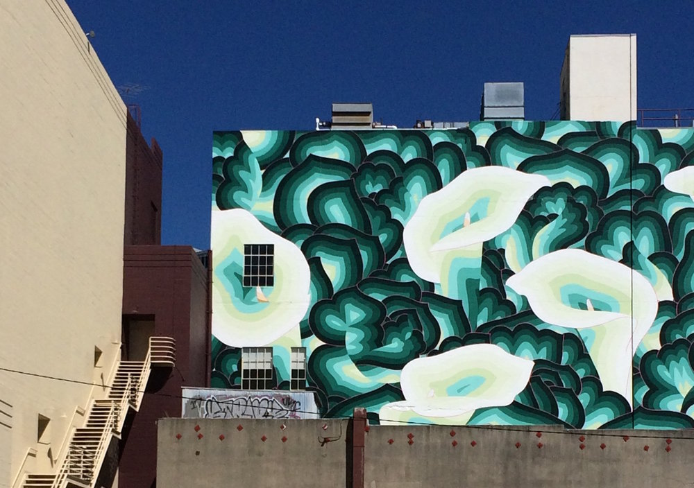 Floral mural by  Jet Martinez  in downtown Oakland, California