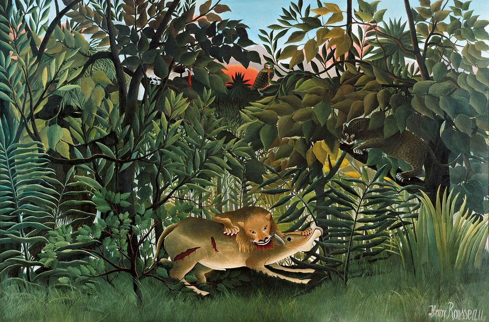 The Hungry Lion Throws Itself on the Antelope, Henri Rousseau