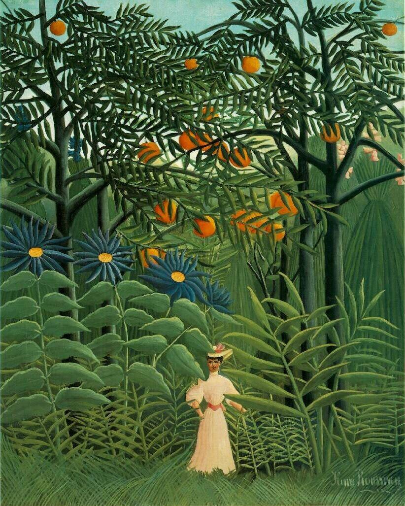 Woman Walking in an Exotic Forest, Henri Rousseau