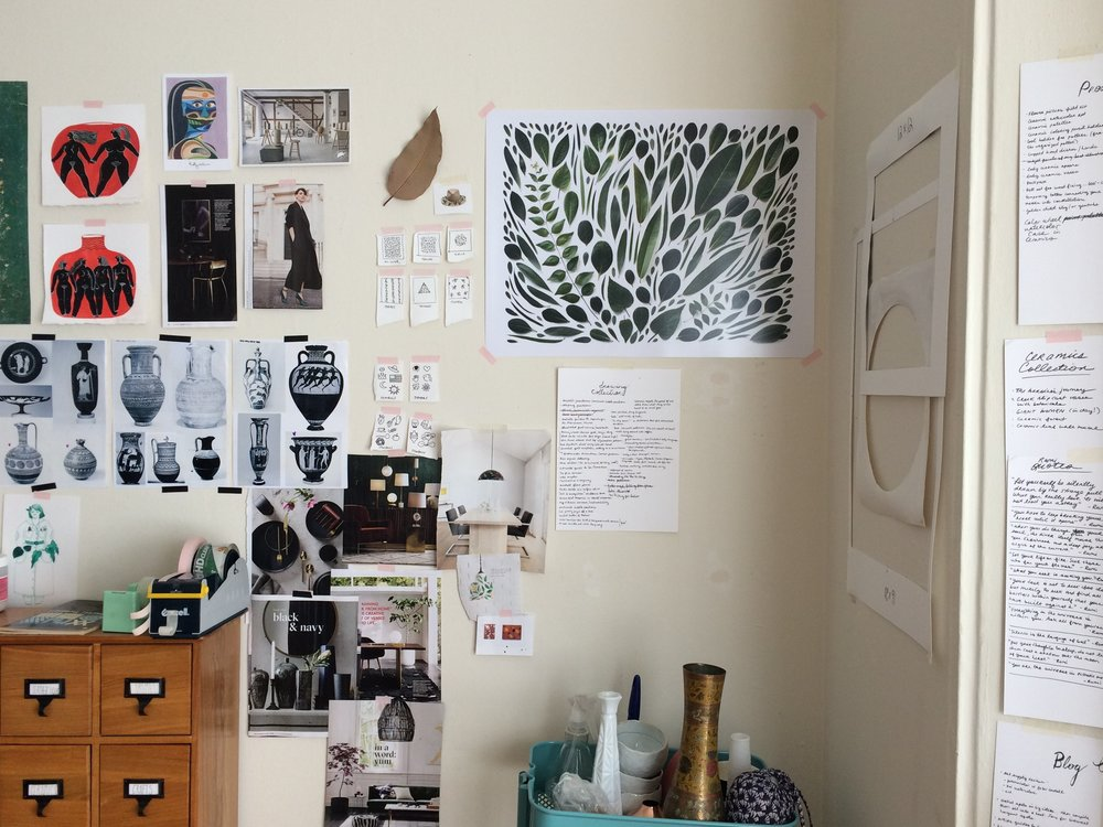 Collections on my inspiration wall (middle, and on right)