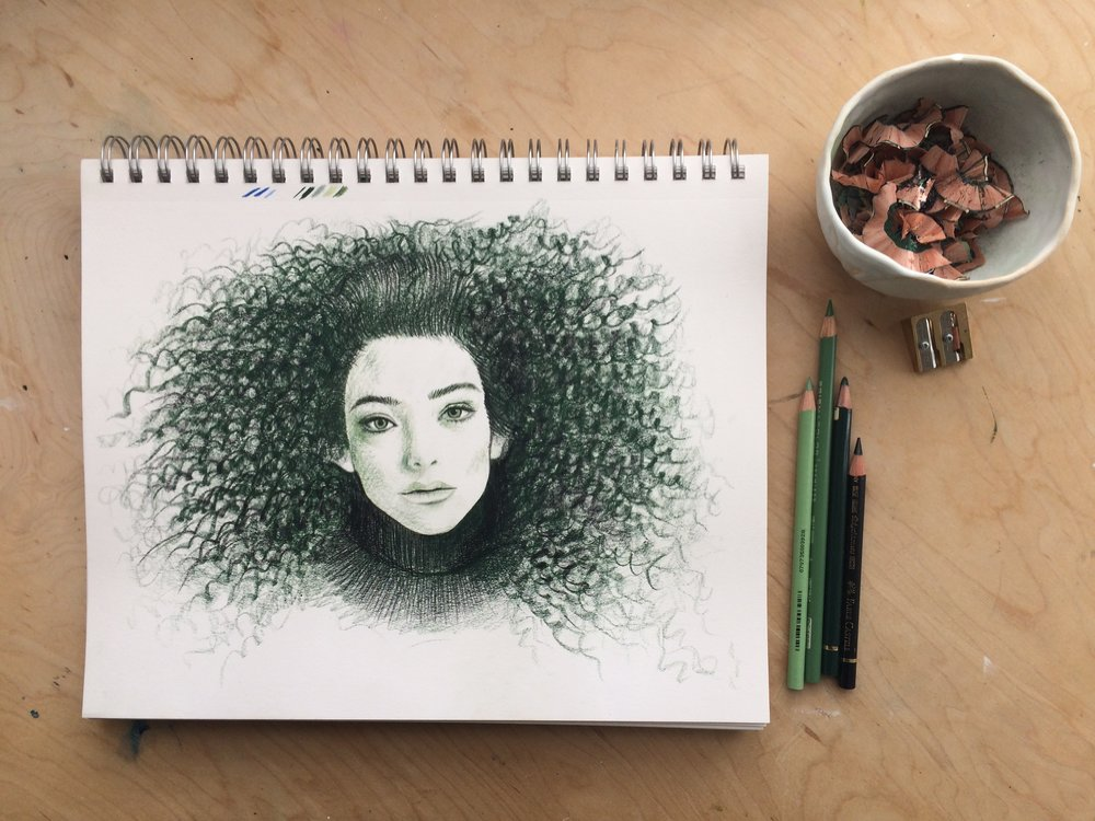 Drawing a portrait of singer,Lorde