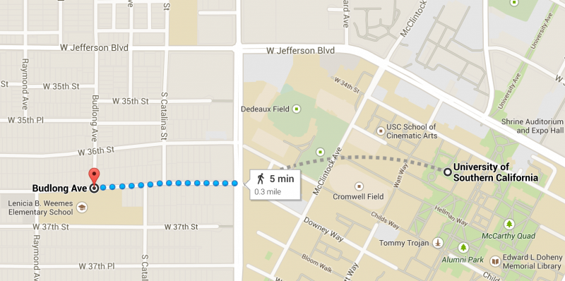 A map shows how close the stabbing was to campus. (Paolo Uggetti/Neon Tommy).