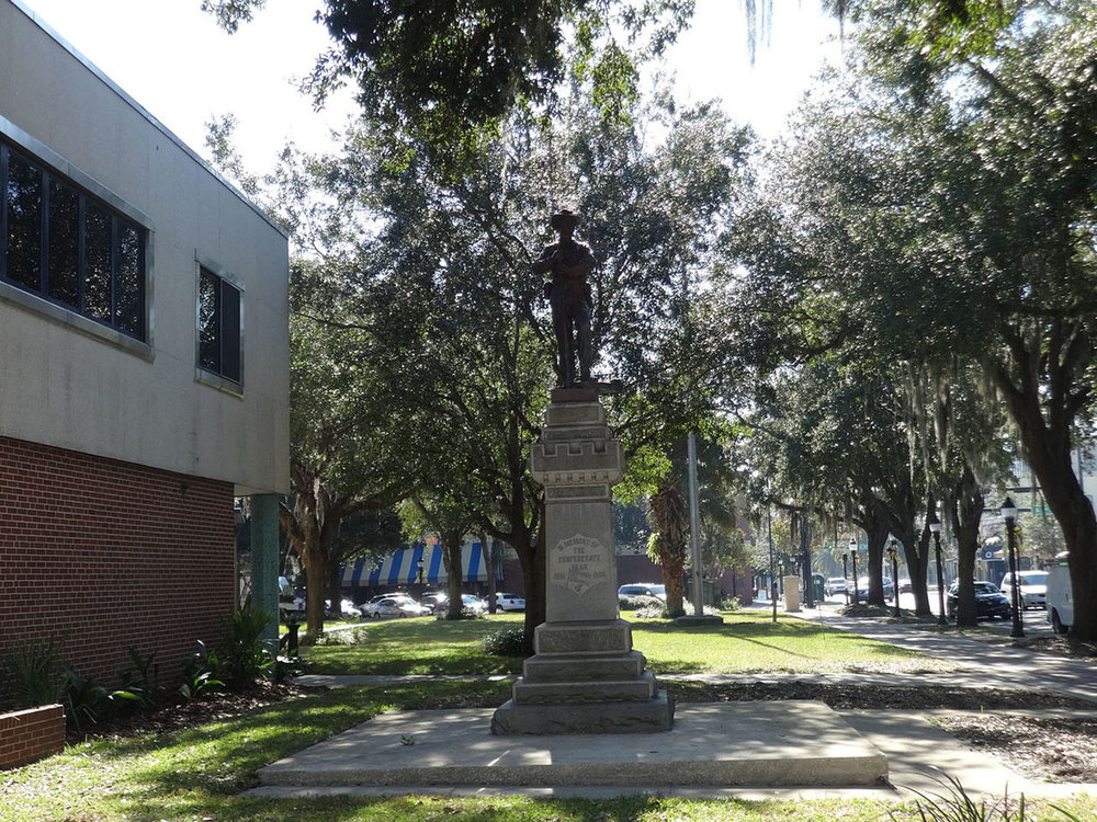 "A monument known to locals as ""Old Joe"" was moved from outside the Alachua County Administration Building in downtown Gainesville, Florida to a private cemetery outside the city. (Wikimedia Commons)"