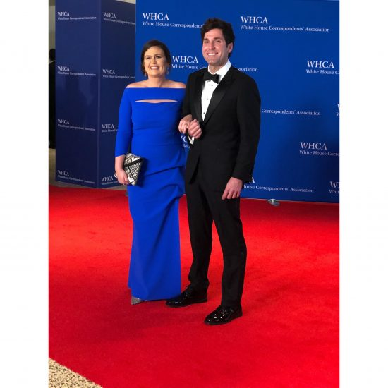 Sarah Huckabee Sanders and her husband, Bryan Chatfield Sanders, arrive. (Rebecca Gibian/RealClearLife)