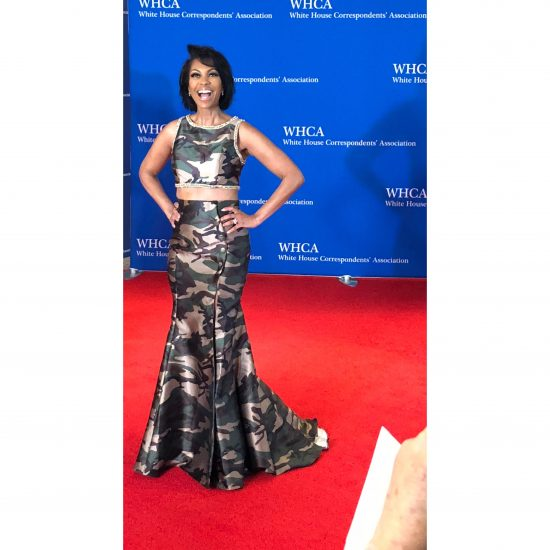 Harris Faulkner of Fox News. She said she was wearing camo because she has a new book coming out that is all about the military. (Rebecca Gibian/RealClearLife)