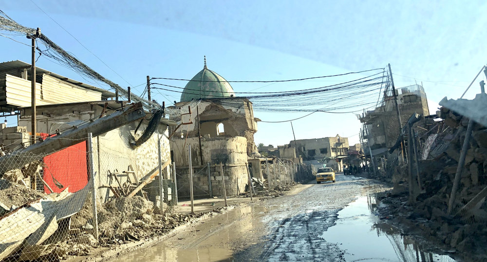 Another view of the destroyed The Great Mosque of al-Nuri, where ISIS declared their caliphate. It was the last stronghold of the extremist group. November, 2018. (Rebecca Gibian)