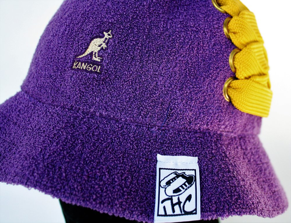 62fb50fa8 Kangol - Purple Bermuda Casual Bucket customized with gold fat lace — True  Headz Clothing