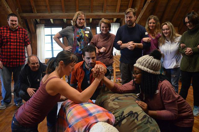 Participants at play during the 2017 Hurricane Gap Community Theater Institute held at Pine Mountain Settlement School. (photo by Nicole Garneau)