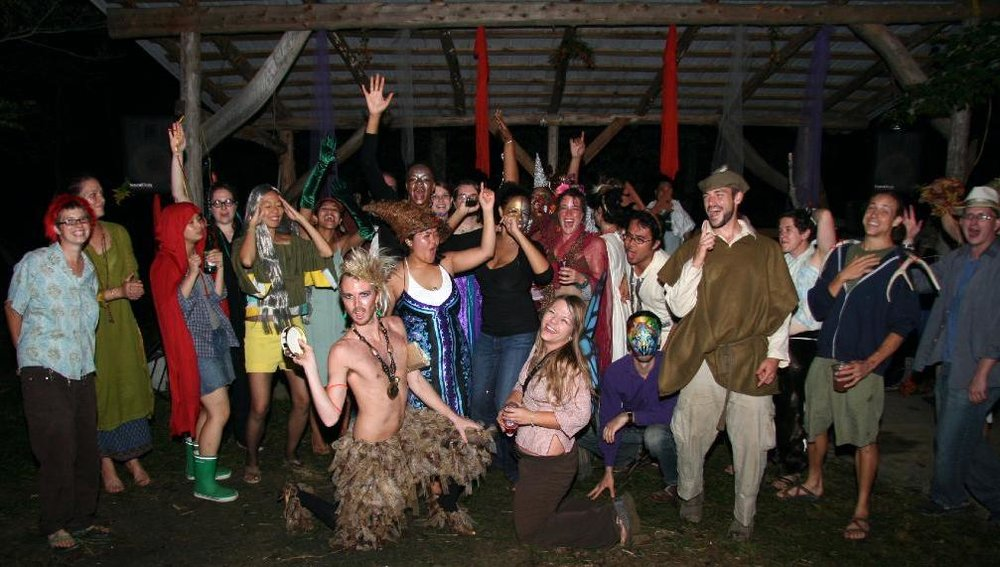 A costumed all-night dance party on the land following Carrie & Bob's commitment ceremony in 2007.  (photo by Erika)