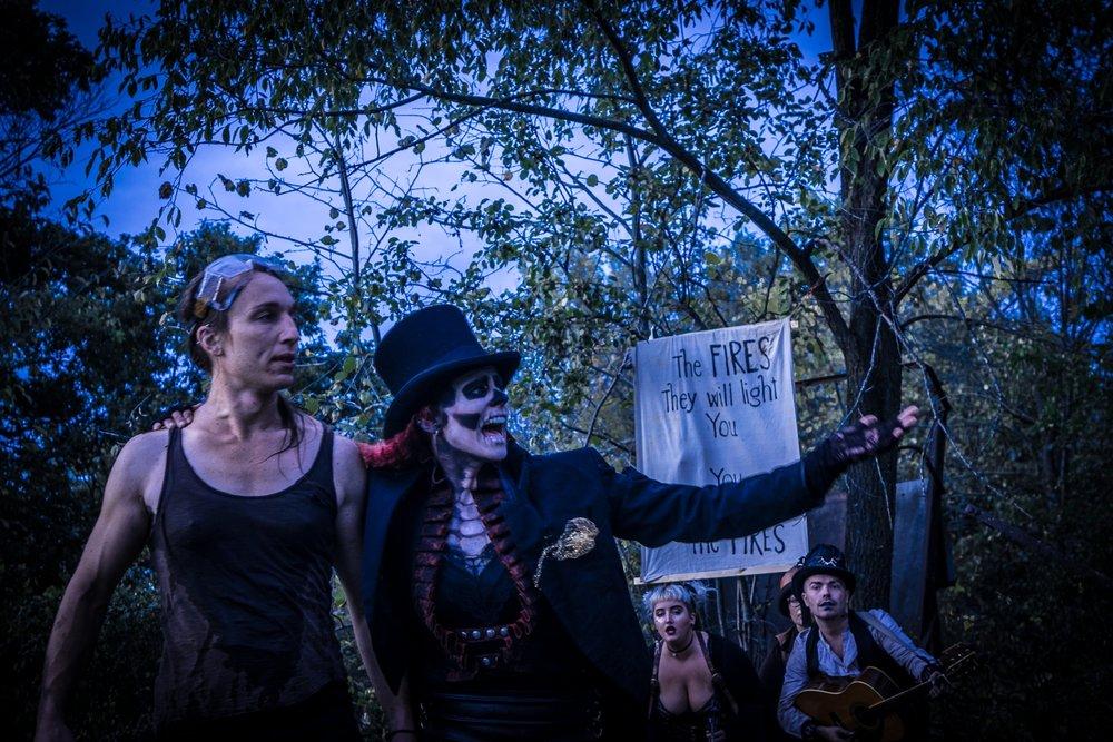 Katie Burgess, Walken Schweigert, Kat Luna and Matthew Ryan Surline perform   The Wastelands at Philadelphia Community Farm in Osceola, WI.. (Photo by Erica Fladeland)