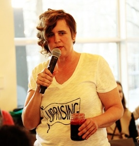 Nicole Garneau at the public launch of Performing Revoluationary: Art, Action, Activism at the Museum of Contemporary Art in Chicago, IL.  (Photo by Erica Chambers)