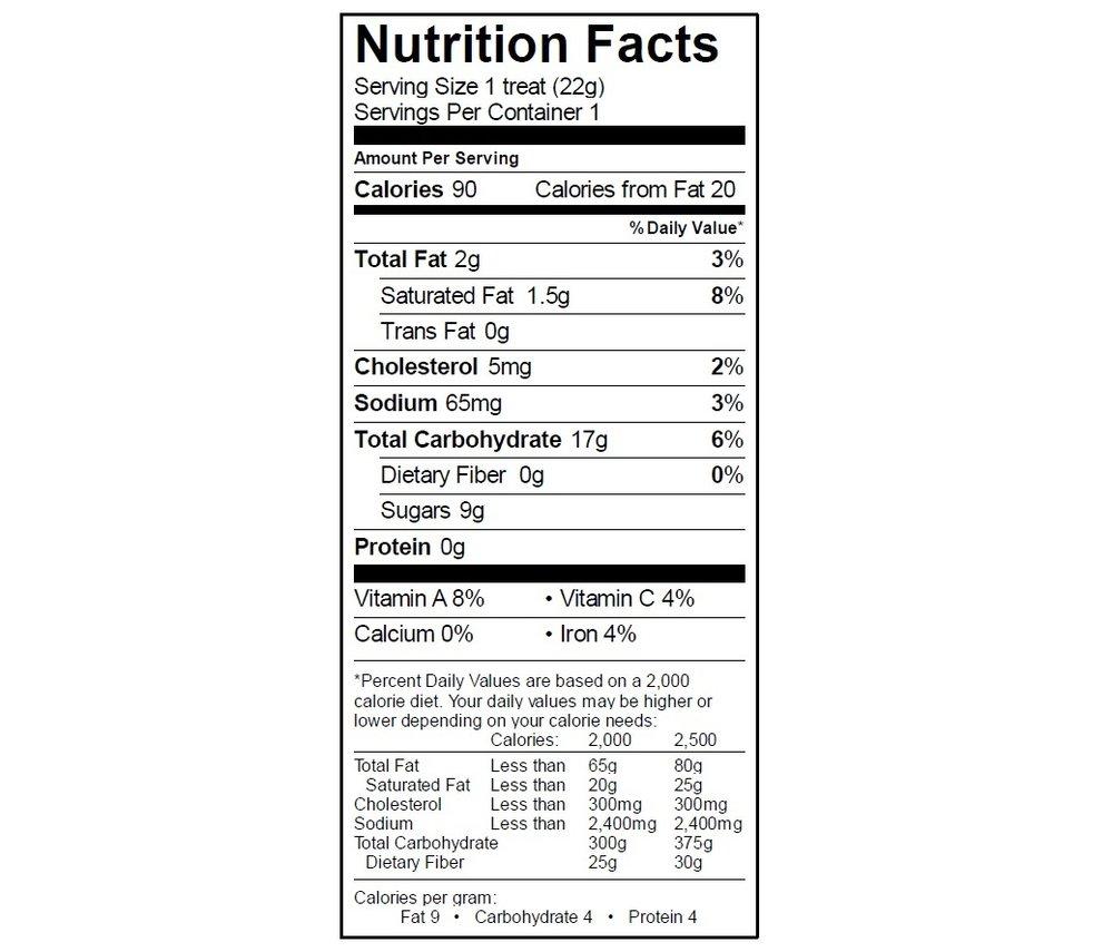 EGO Fruity Pebble Treat Nutrition Info