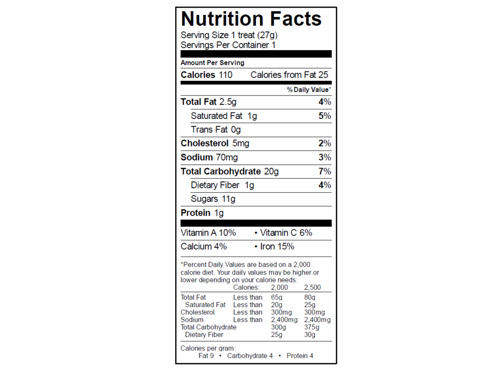 EGO Cinnamon Toast Crunch Treat Nutrition Info