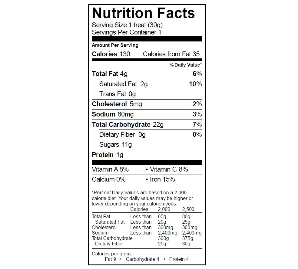 EGO Cookies & Cream Treat Nutrition info