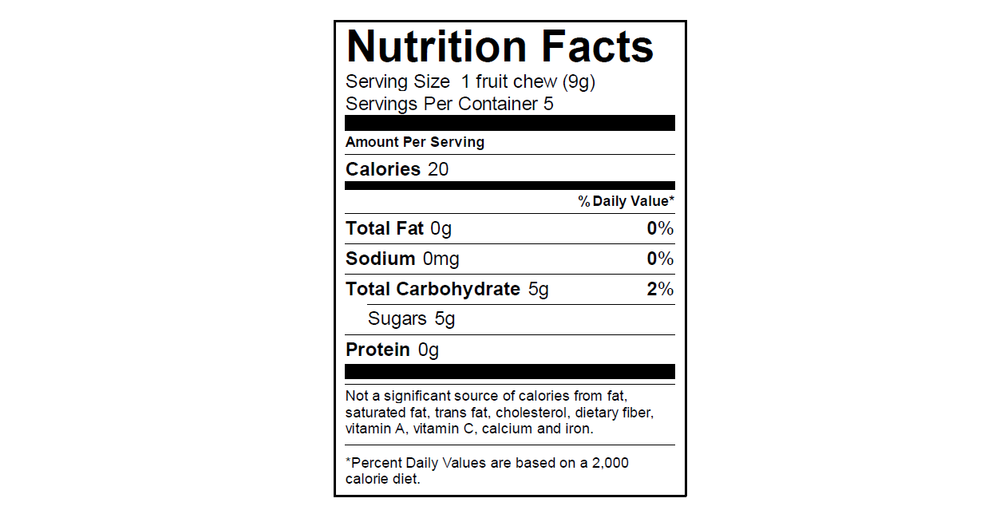 EGO Fruit Chew Nutrition Info