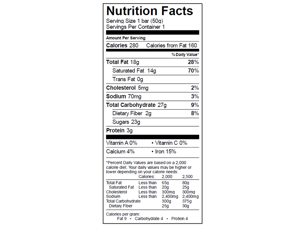 EGO Salted Almond Bar Nutrition Info