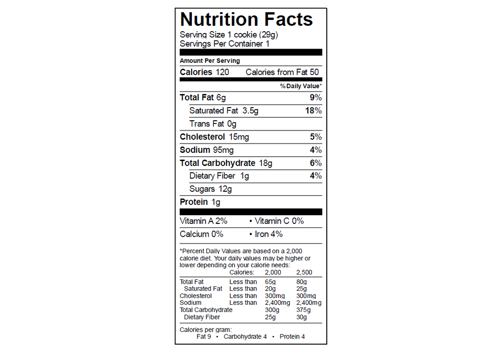 EGO Chocolate Chip Cookie Nutrition Info