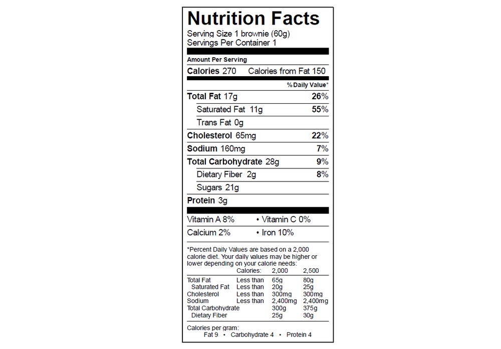 EGO Brownie Nutrition Info