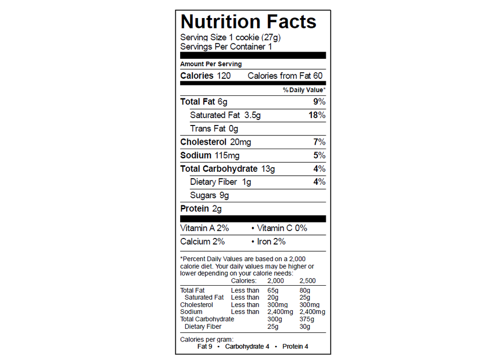 EGO PB Cookie Nutrition Info