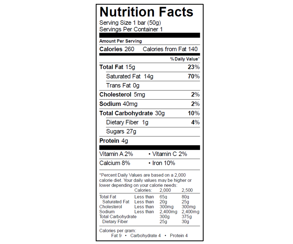EGO Crunch Bar Nutrition Info