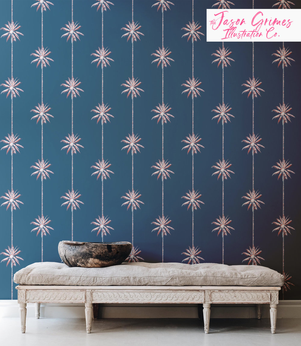 Palm Stripe  available as wallpaper, fabric by the yard and wrapping paper through Spoonflower.