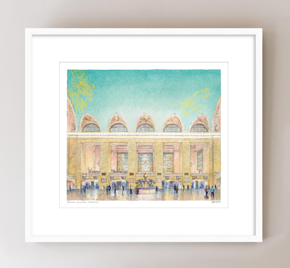 Grand Central Terminal watercolor, $85 signed print