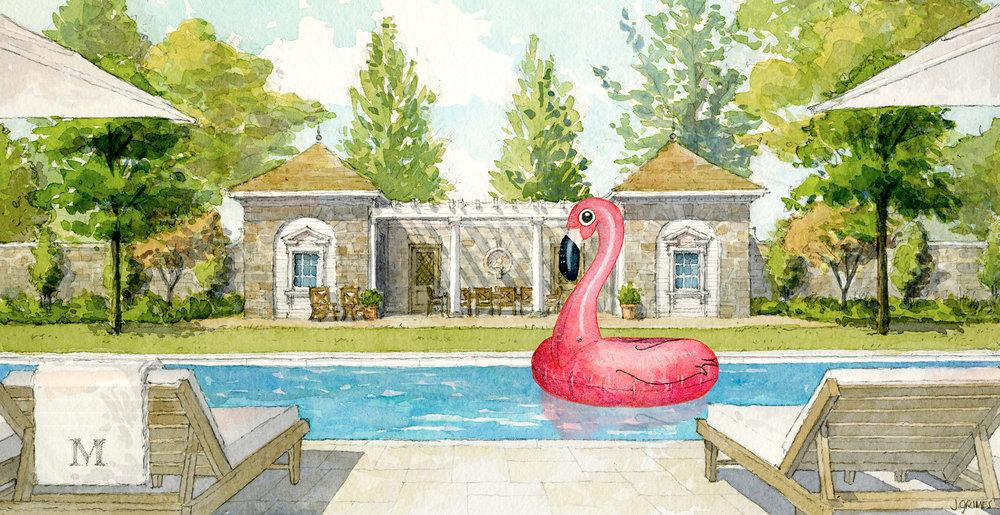 REASON FOR RETURN: TOO BIG . Pool House, 2017. XL Flamingo Float, 2018.