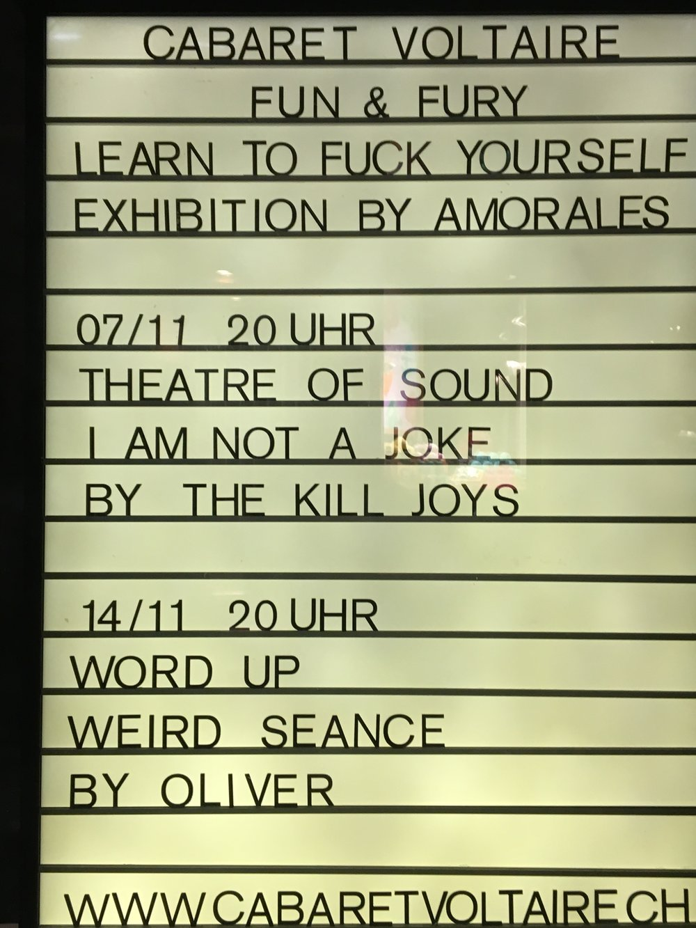Upcoming programming at Cabaret Voltaire. Zurich, November 2017
