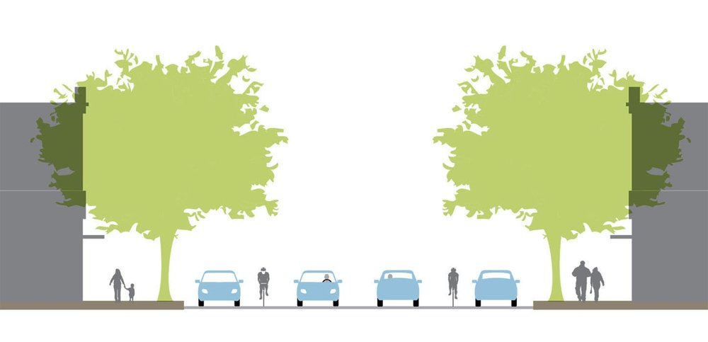 Street section redesign for Main Street, Woodbridge, adding bicycle lanes, street trees that will grow to a taller height than the current trees, and wider sidewalks with bulb-outs.