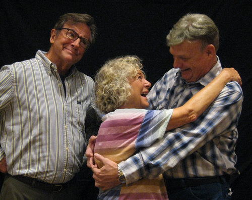 Pictured left to right: George Kimball ( Jack Filkins ) Judith Kimball ( Nancy Markey ) Bert Power ( Ken Hoffmann ) Why is Judith, George's wife, hugging Bert? George does not look too happy!