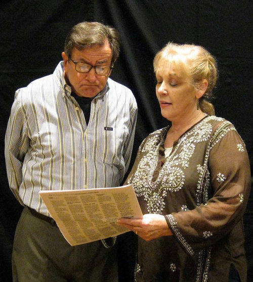 Pictured left to right: George Kimball ( Jack Filkins ) Ms. Akins ( Barb Abrams ) Ms. Akins is a salesperson from Eternal Gardens discussing cemetery plots with George. Is he dying?