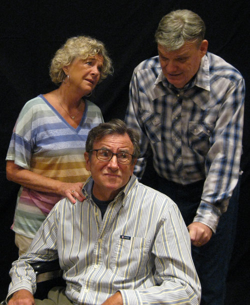 Pictured left to right: Judith Kimball ( Nancy Markey ) George Kimball ( Jack Filkins) Bert Power ( Ken Hoffmann ) It appears George has taken a turn for the worse. A trip to Mayo Clinic seems in order.