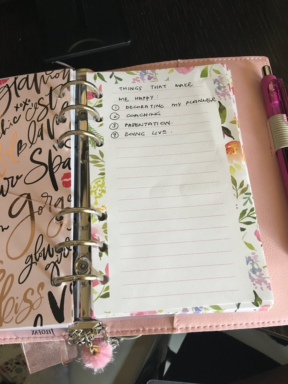 A pretty notepad that I cut, punch holes & inserted in the planner