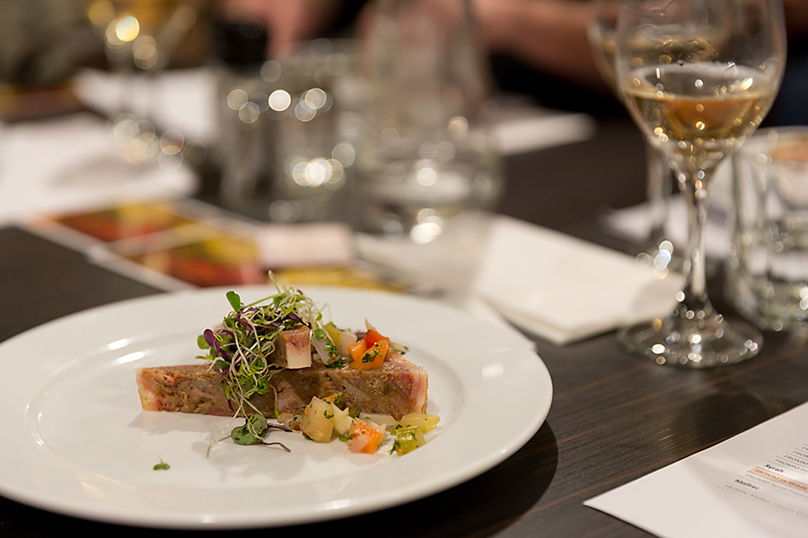 Second to last we had a lovely Smokey Pork Hock and Pickled Vegetable Terrine served with a lovely Pinot Gris