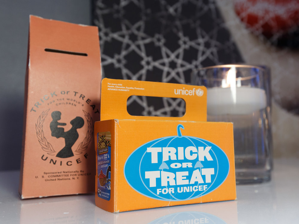 Vintage Trick-or-Treat for UNICEF boxes were on display at the UNICEF Gala San Francisco (Photo by Drew Altizer)