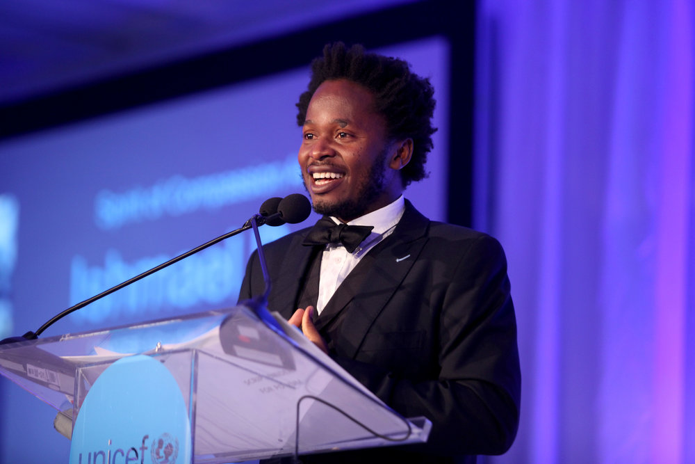 Spirit of Compassion Award Recipient, Ishmael Beah, speaking at the UNICEF Gala San Francisco (Photo by Getty Images)