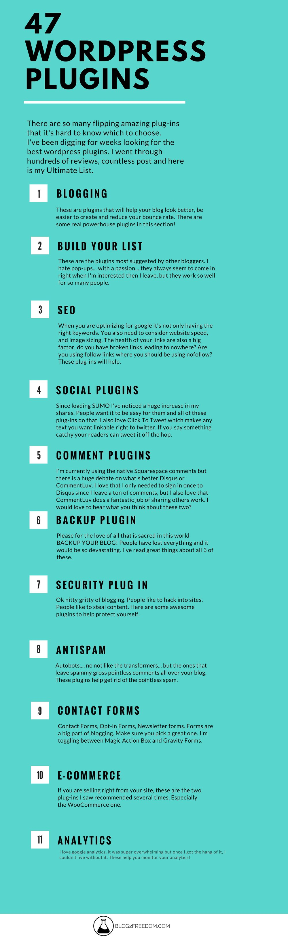 WOW!!! Must pin resource here. 47 Wordpress Plugins in every category!