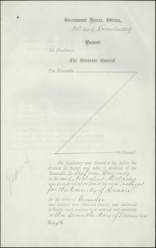 An Order-in-Council was issued on November 25, 1869, refusing a request to commute Nicholas Melady's death sentence for the gruesome murder of his father.  Melady's hanging on December 7 was the last one in a public place in Canada.   Photos courtesy of Library and Archives Canada