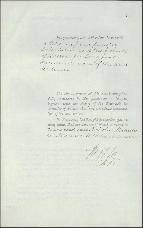 An Order-in-Council was issued on November 25, 1869, refusing a request to commute Nicholas Melady's death sentence for the gruesome murder of his father.  Melady's hanging on December 7 was the last one in a public place in Canada.   Photo courtesy of Library and Archives Canada