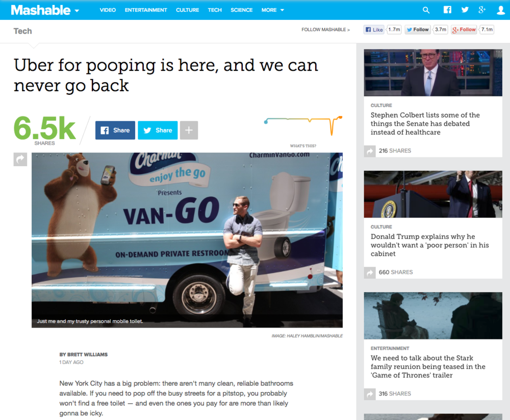 Brett Williams of Mashable trying out the Charmin Van-Go experience. ( Mashable )