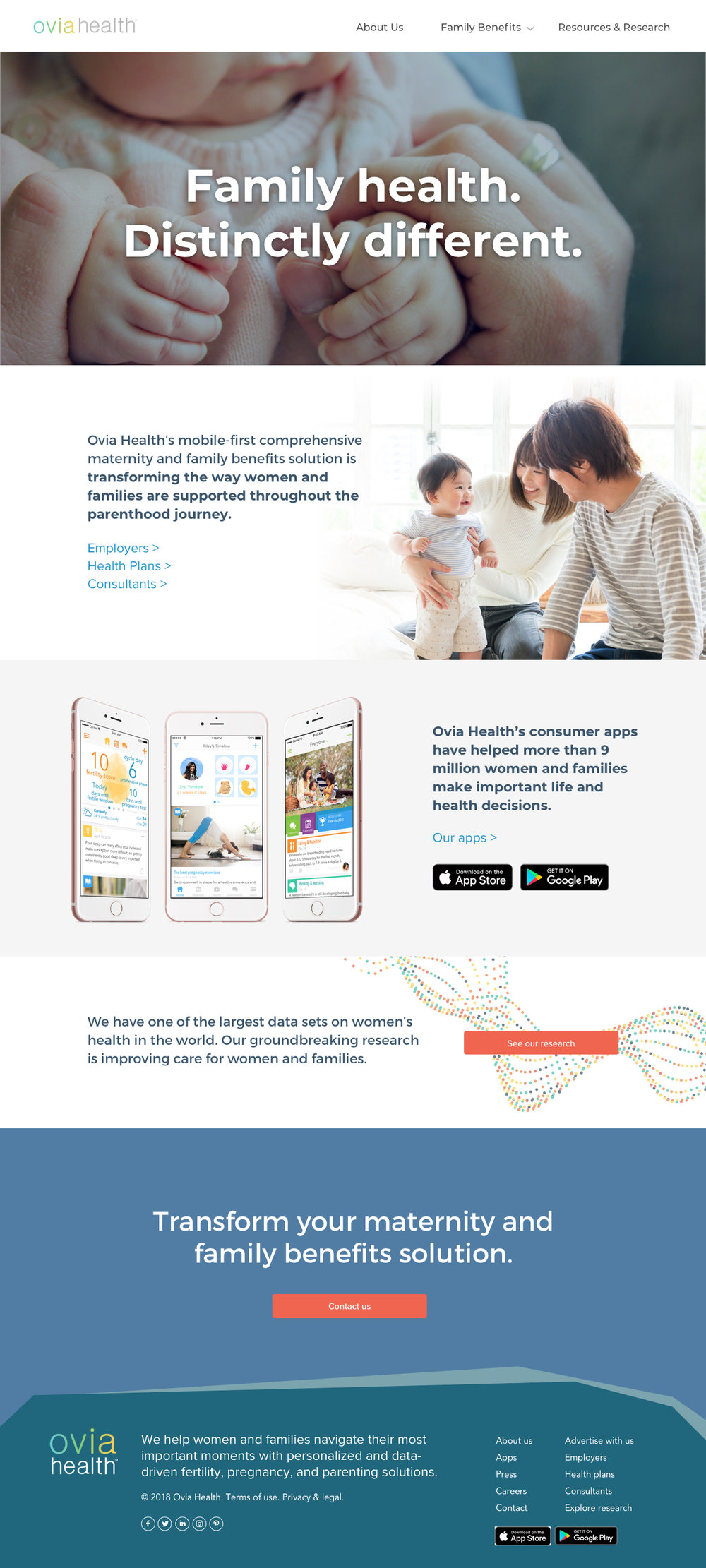 Ovia Health - Website Redesign
