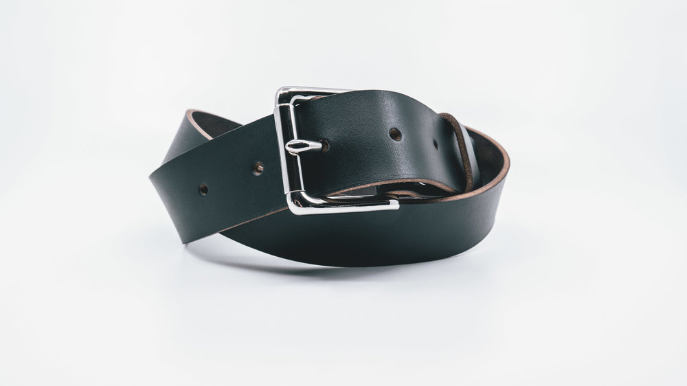 Black Horween Leather Belt Silver Buckle-9.jpg