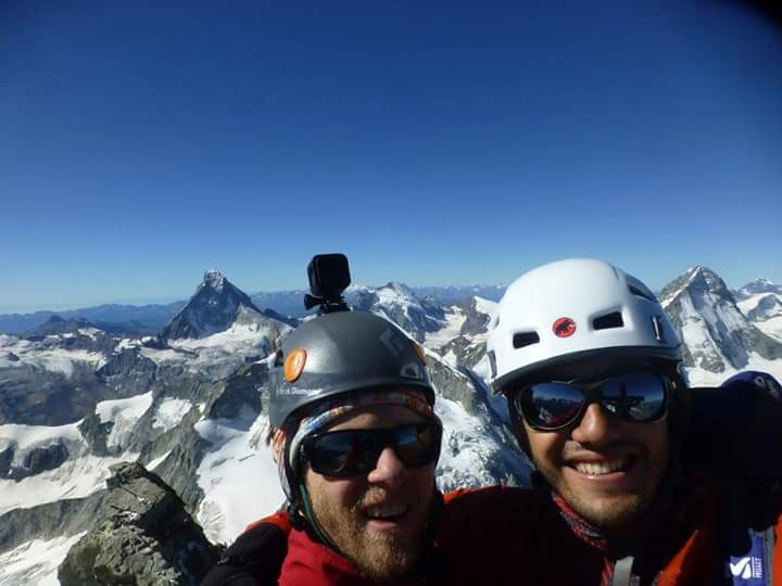 Mountain summits truly are incredible places. Here myself and Felipe enjoy a few moments on top of the Zinalrothorn (4,221m) in Switzerland.