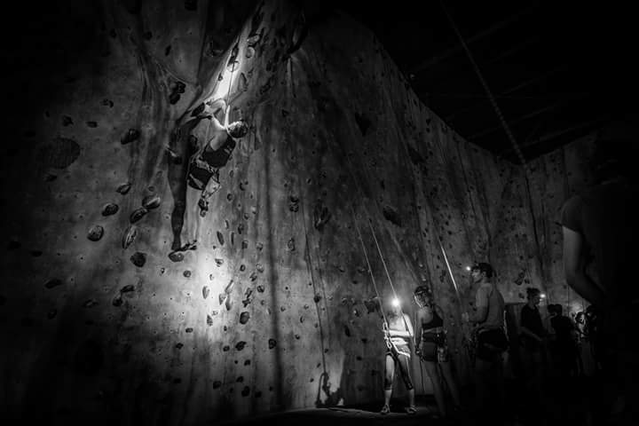 One of my favourite themes was 'lights out' hour where the gym lights were turned out and climbers were forced to use their head torches to navigate their chosen route. At 3am in the morning!